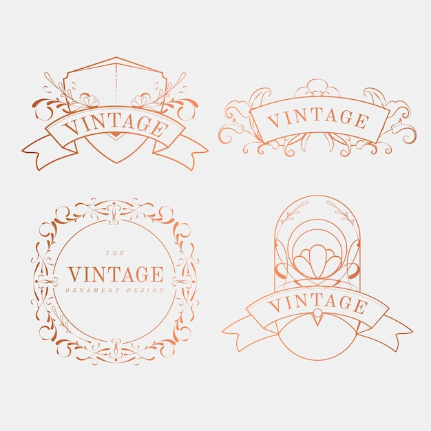 Conjunto de vetores de distintivo luxuoso vintage art nouveau Vetor grátis