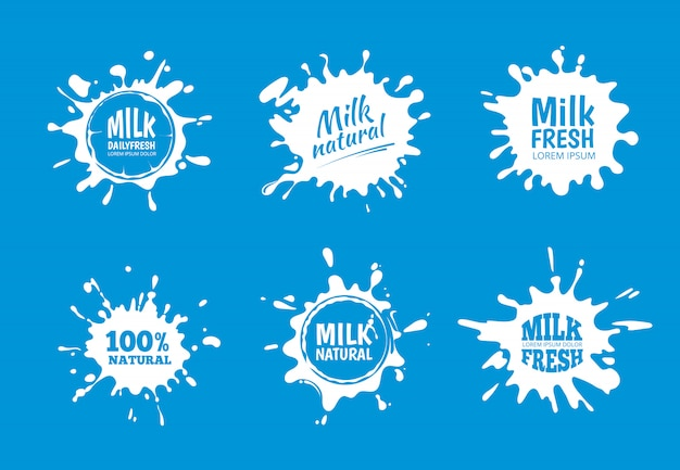 Conjunto de vetores de distintivos de leite. design branco de respingo e borrão Vetor Premium