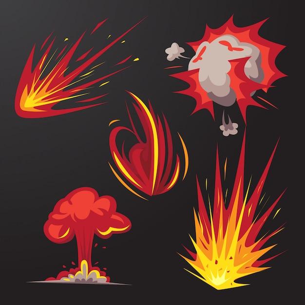 Conjunto de vetores de efeito de explosão de bomba Vetor Premium