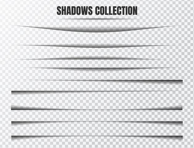 Conjunto de vetores de efeito de sombra realista componentes separados em transparente Vetor Premium