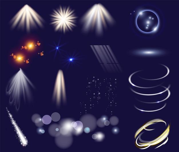 Conjunto de vetores de efeitos de luz. objetos de modelo de clip-art isolado. estrelas de luz brilhante explodem com brilhos. efeitos de brilho mágico. Vetor Premium