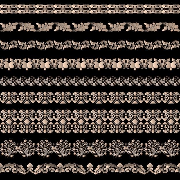 Conjunto de vetores de elementos de borda e elementos de decoração de página. padrões de elementos de decoração de borda. ilustrações vetoriais de fronteiras étnicas. Vetor grátis