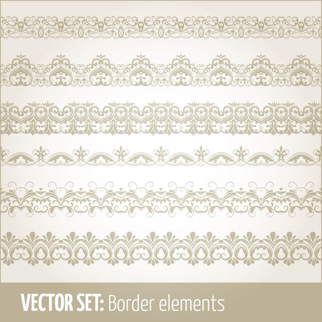 Conjunto de vetores de elementos de borda e elementos de decoração de páginas. padrões de elementos de decoração de fronteira. ilustrações vetoriais de fronteiras étnicas. Vetor grátis