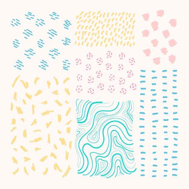 Conjunto de vetores de elementos de design estampados mão desenhada Vetor grátis