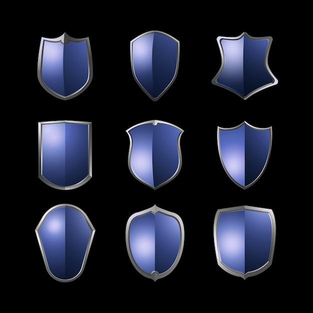 Conjunto de vetores de elementos de escudo barroco azul Vetor grátis