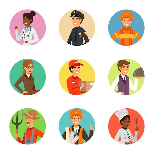 Conjunto de vetores de empresário em diferentes poses de ação com acessórios. pessoa de empresário de personagens engraçados em pose diferente, ilustração vetorial Vetor Premium
