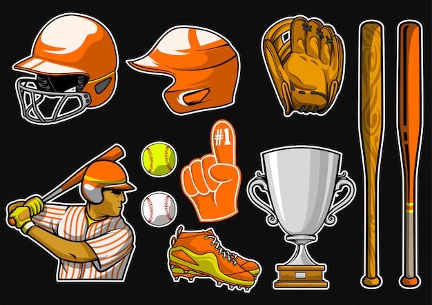 Conjunto de vetores de equipamento de beisebol Vetor Premium