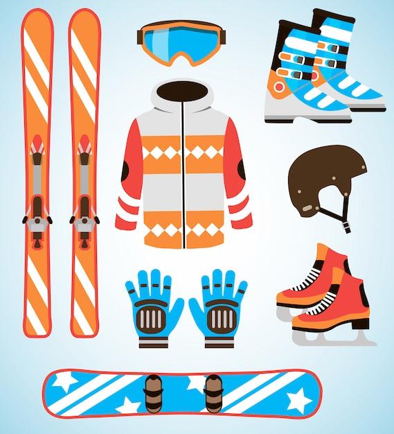 Conjunto de vetores de equipamentos de esqui e snowboard. equipamento de esportes de inverno isolado conjunto de elementos em estilo design plano. Vetor Premium