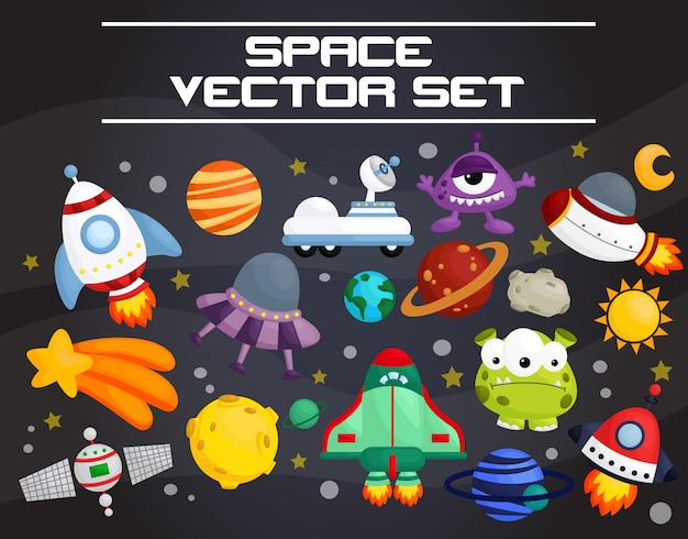 Conjunto de vetores de espaço Vetor Premium