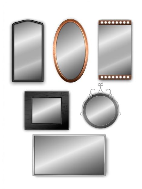 Conjunto de vetores de espelhos 3d realistas isolados no branco Vetor Premium