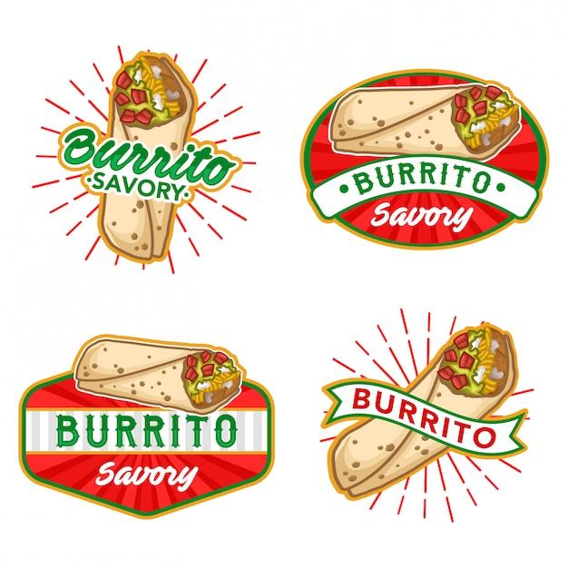 Conjunto de vetores de estoque de logotipo burrito Vetor Premium