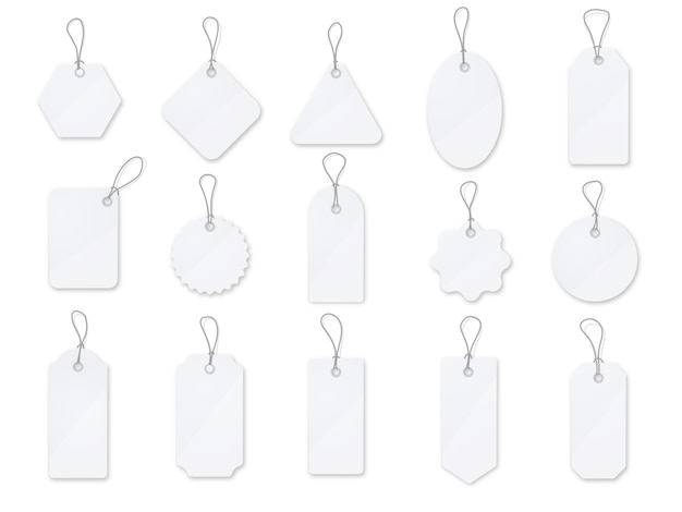Conjunto de vetores de etiqueta e rótulos de venda. etiqueta de preço brilhante branca Vetor Premium
