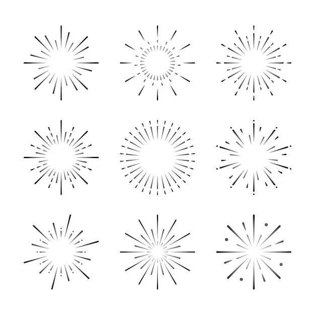 Conjunto de vetores de explosão de fogo de artifício Vetor grátis