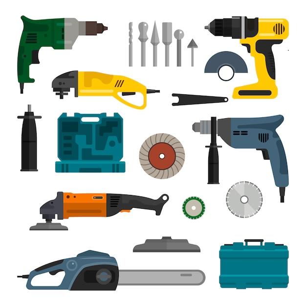 Conjunto de vetores de ferramentas elétricas de poder. reparação e construção de ferramentas de trabalho Vetor Premium