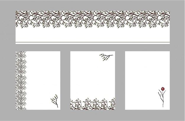 Conjunto de vetores de folhetos de cartões postais com ornamento floral. Vetor Premium
