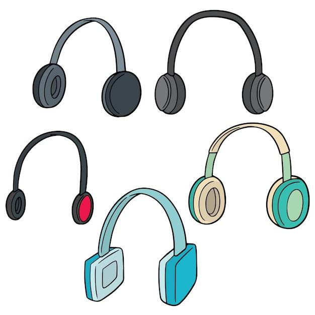 Conjunto de vetores de fone de ouvido Vetor Premium