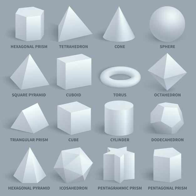 Conjunto de vetores de formas 3d básicas branco realista Vetor Premium
