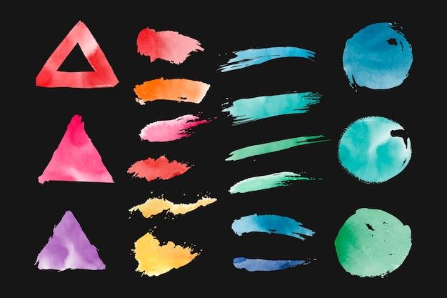 Conjunto de vetores de formas geométricas em aquarela Vetor grátis