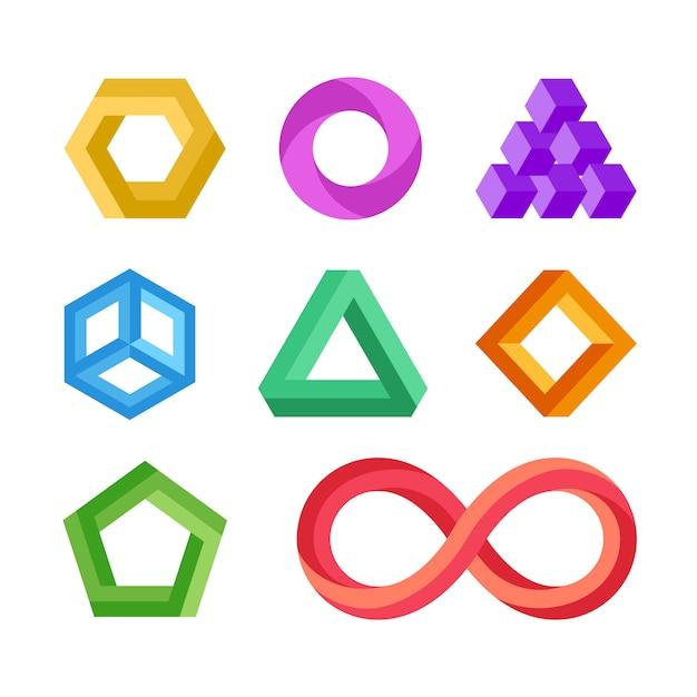 Conjunto de vetores de formas geométricas impossíveis Vetor Premium