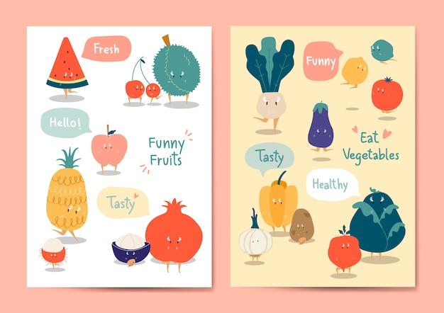 Conjunto de vetores de frutas e legumes engraçado Vetor grátis