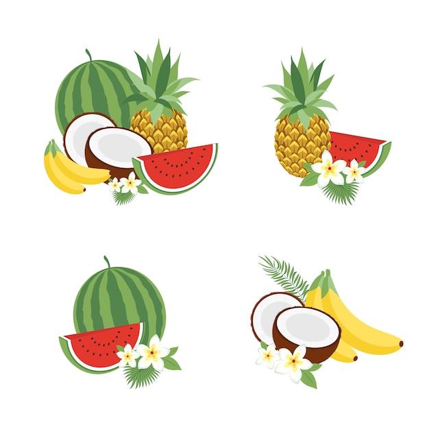 Conjunto de vetores de frutas grandes. design plano moderno. objetos isolados. ícones de frutas. Vetor Premium