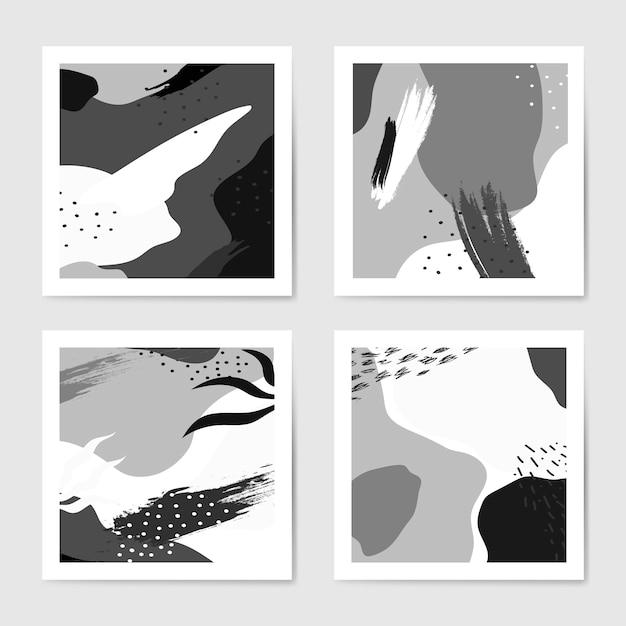 Conjunto de vetores de fundos de estilo memphis preto e branco Vetor grátis
