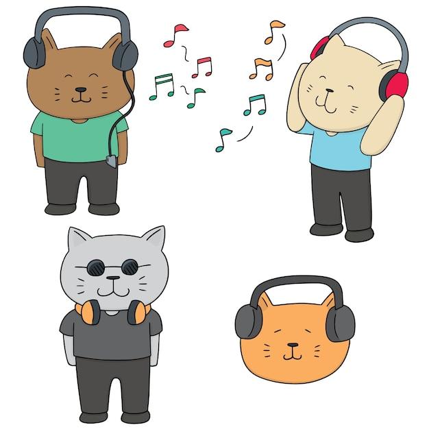 Conjunto de vetores de gato ouvindo música Vetor Premium