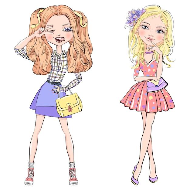 Conjunto de vetores de giros na moda meninas Vetor Premium