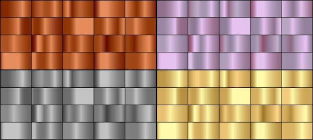 Conjunto de vetores de gradientes de metal coloridos. Vetor Premium