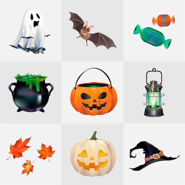Conjunto de vetores de halloween Vetor grátis
