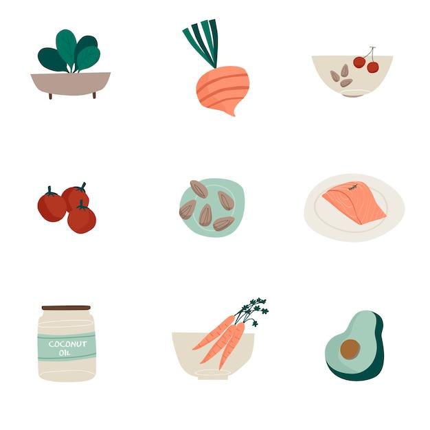 Conjunto de vetores de ícone de alimentos orgânicos Vetor grátis