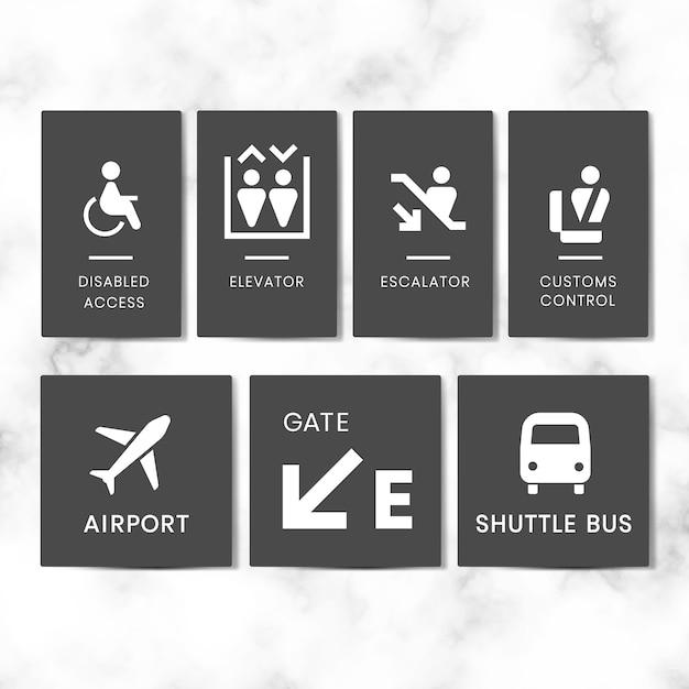 Conjunto de vetores de ícone de sinais de aeroporto Vetor grátis