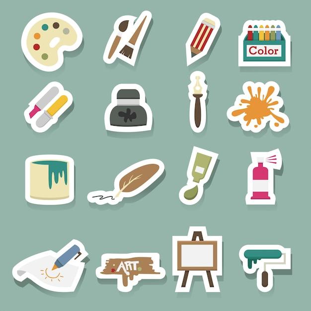 Conjunto de vetores de ícones de arte Vetor Premium