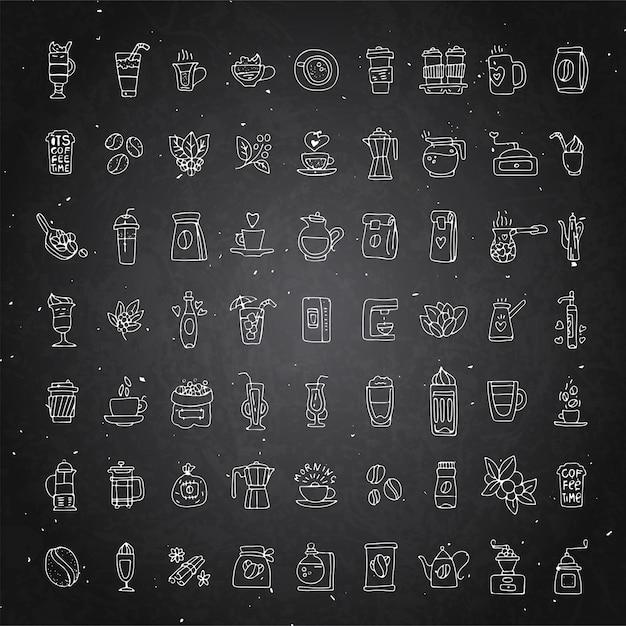 Conjunto de vetores de ícones de café sobre fundo preto giz. ícone de mão desenhada café, coleção de doodle de vetor. Vetor Premium