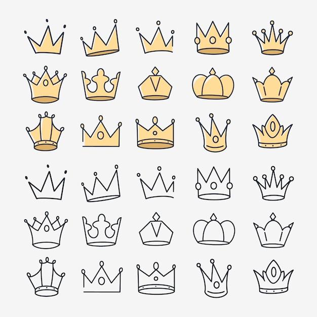 Conjunto de vetores de ícones de coroas desenhadas à mão Vetor Premium
