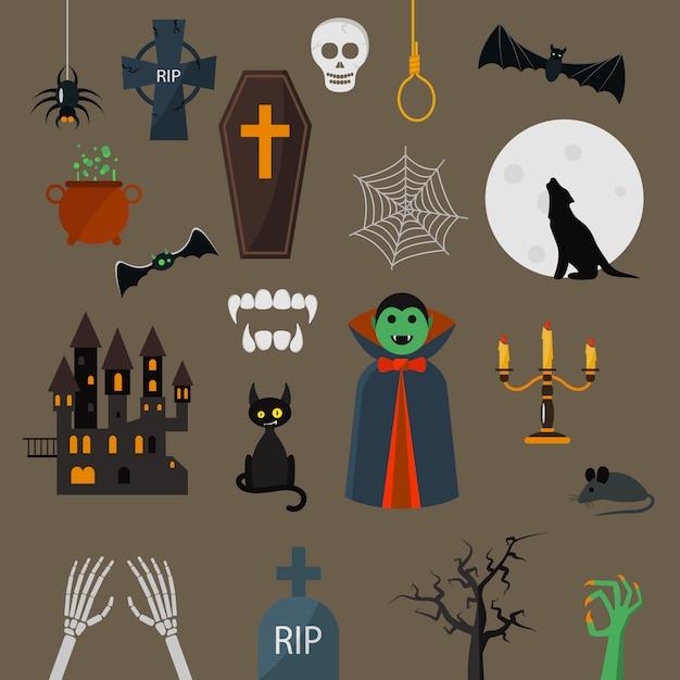 Conjunto de vetores de ícones de drácula conjunto de elementos de projeto de vampiro ... Vetor Premium