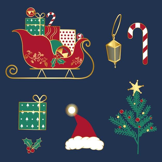 Conjunto de vetores de ilustrações de natal Vetor grátis