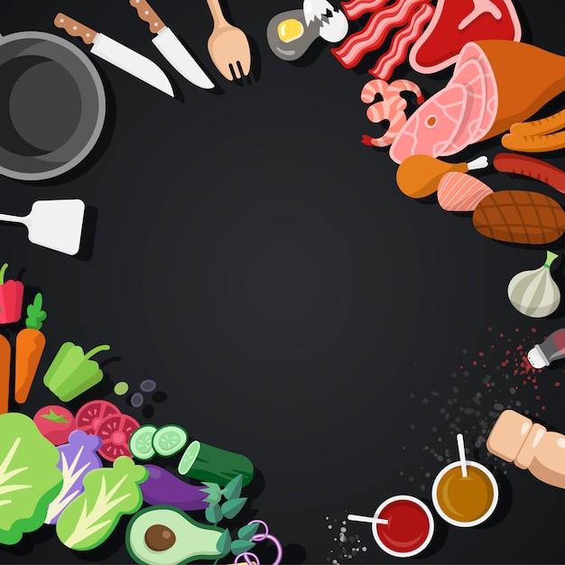 Conjunto de vetores de ingredientes e ferramentas de cozinha Vetor grátis