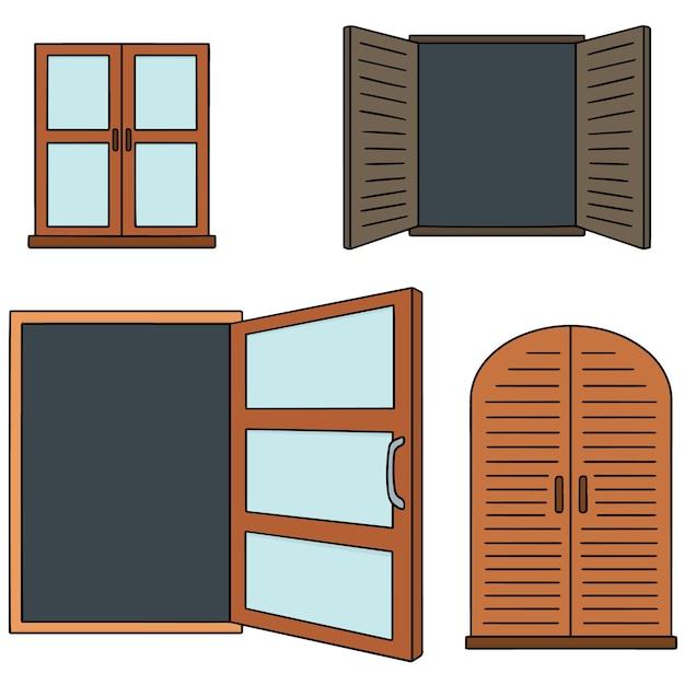 Conjunto de vetores de janela Vetor Premium