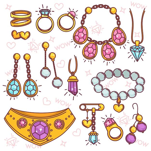Conjunto de vetores de jóias de moda. Vetor Premium