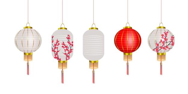 Conjunto de vetores de lanternas chinesas, lâmpadas vermelhas e brancas de ano novo chinês com sakura. decoração do festival. elementos de design 3d realistas Vetor Premium