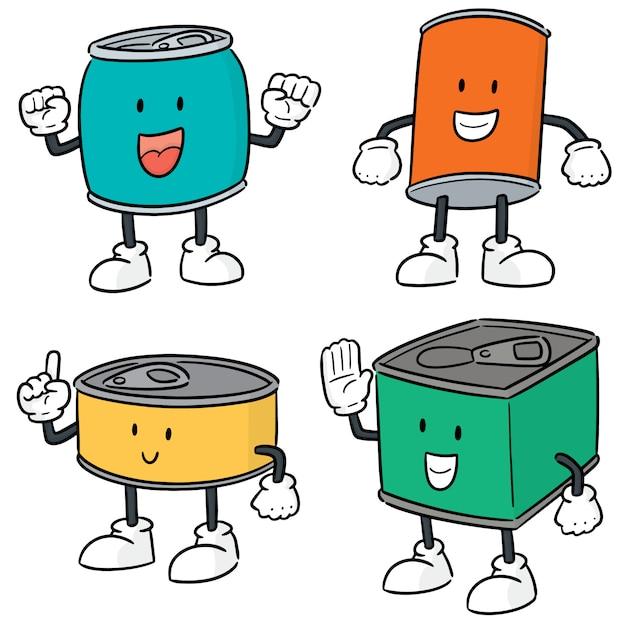 Conjunto de vetores de lata dos desenhos animados Vetor Premium