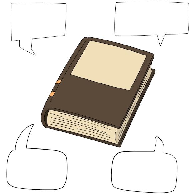 Conjunto de vetores de livro e discurso bolha Vetor Premium