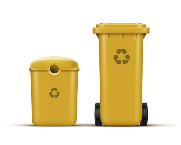 Conjunto de vetores de lixeiras amarelas para reciclagem de lixo plástico Vetor grátis