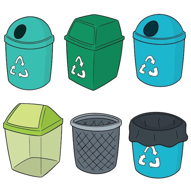 Conjunto de vetores de lixo de reciclagem Vetor Premium
