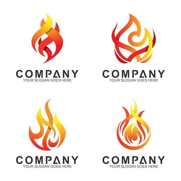 Conjunto de vetores de logotipo abstrato de fogo Vetor Premium