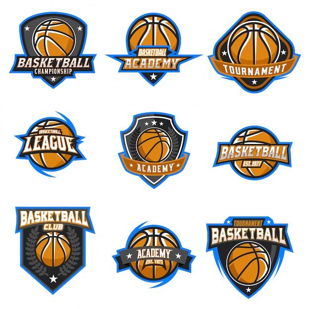 Conjunto de vetores de logotipo de basquete Vetor Premium