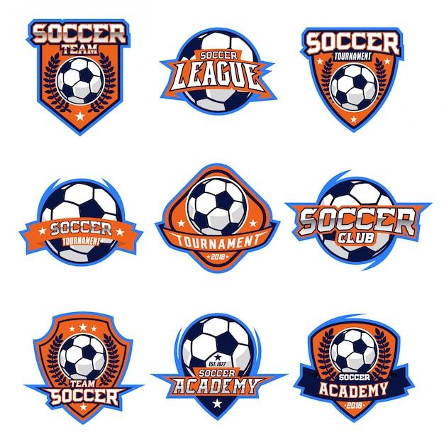 Conjunto de vetores de logotipo de futebol Vetor Premium