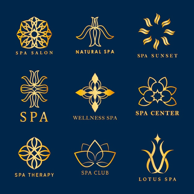 Conjunto de vetores de logotipo de spa Vetor grátis