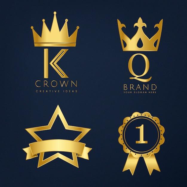 Conjunto de vetores de logotipo dourado Vetor grátis